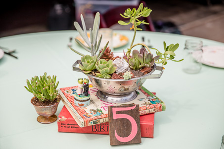 DIY vintage and rustic centerpiece - old books and succulent