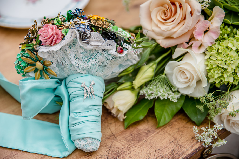 beautiful DIY bridal bouquet with baby blue ribbon for a blue wedding