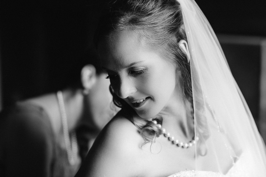 timeless black and white bridal portrait