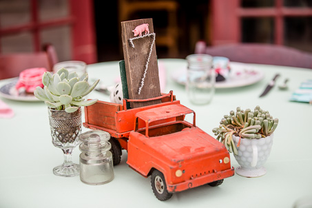 DIY vintage and rustic centerpiece - red truck and succulent