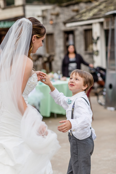 bride twerling with her son