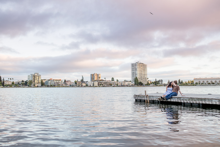 beautiful skies at Lake Merritt - Oakland engagement photographer