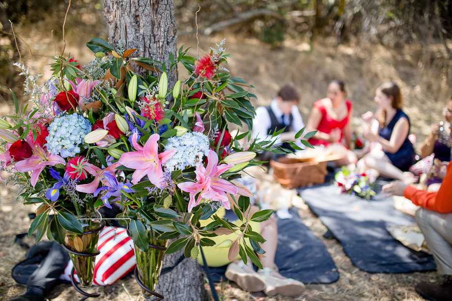 beautiful floral arrangement at a wedding picnic