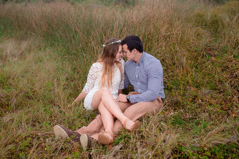 romantic engagement photo with floral hairband - san francisco photographer