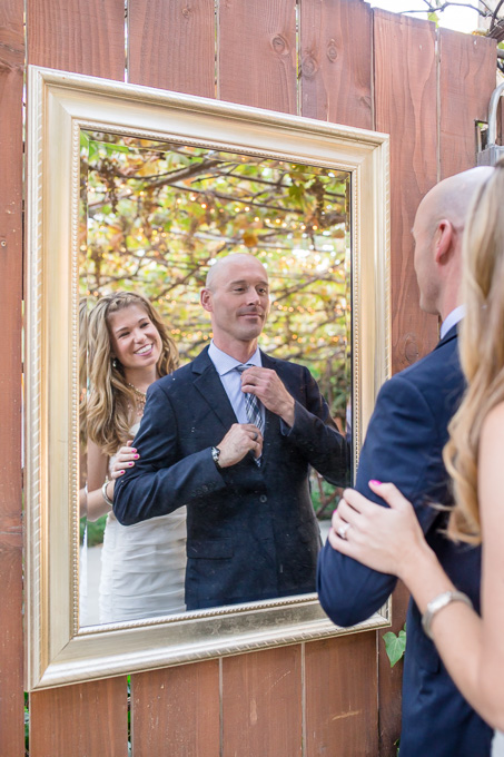 a mirror photo of the newlyweds at the ranch - san jose wedding photographer