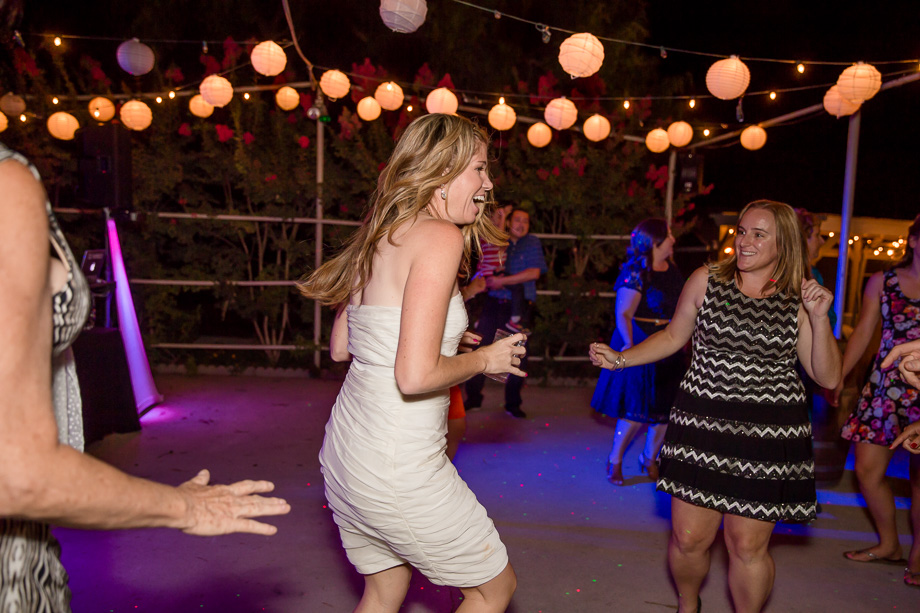 bride showing her dance moves on the dance floor