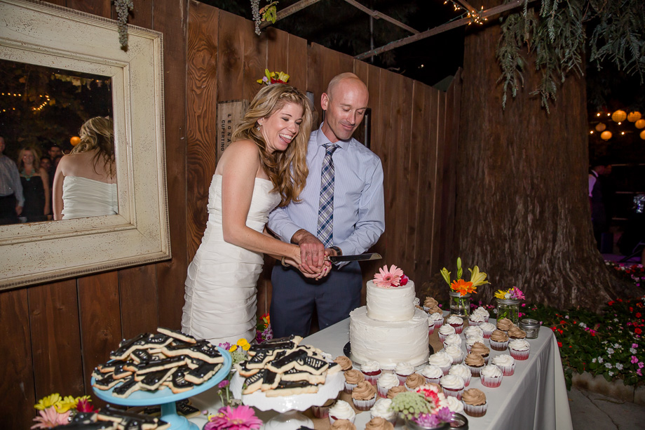 bride and groom very happy to cut their cake