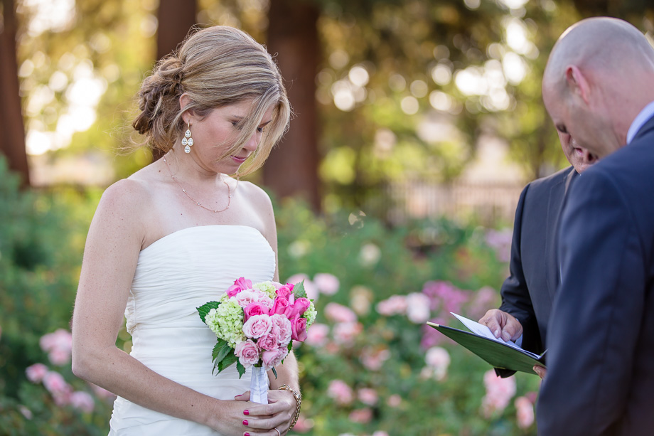 officiant speaking during intimate wedding ceremony