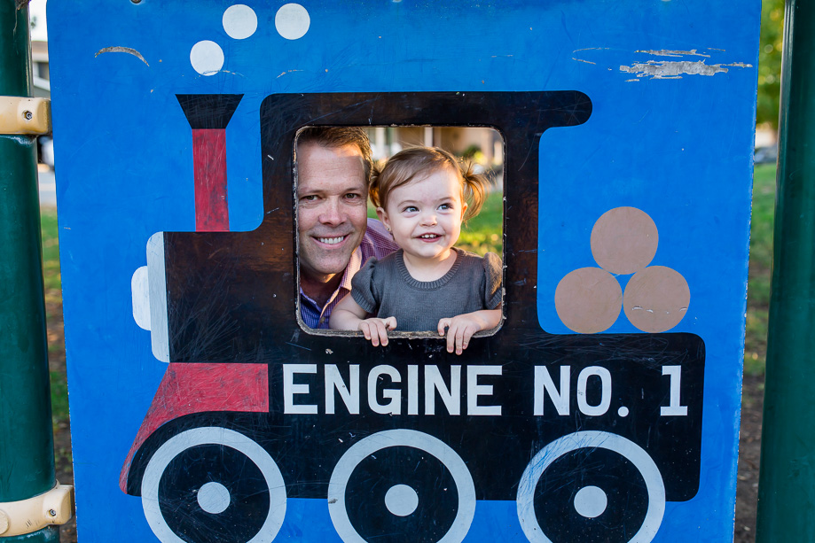 dad and daughter in train cutout