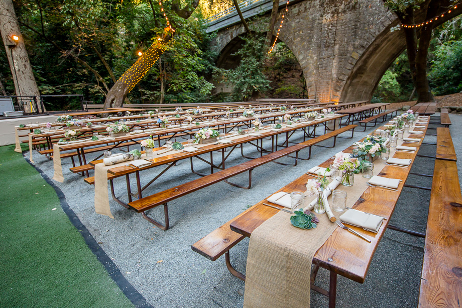 Beautiful Rustic Reception Long Picnic Table Setup At Saratoga Springs