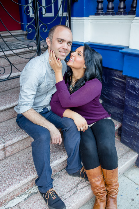 engagement photo on steps