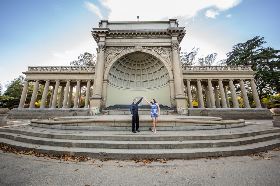 engagement photo at the Music Concourse in Golden Gate Park