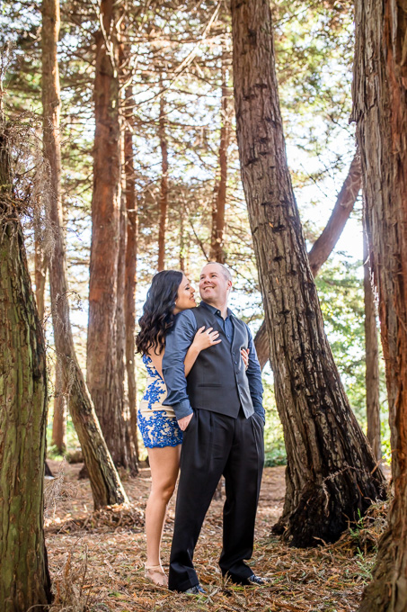engagement photo in woods