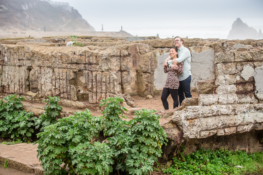 engagement photo in Sutro Baths ruins