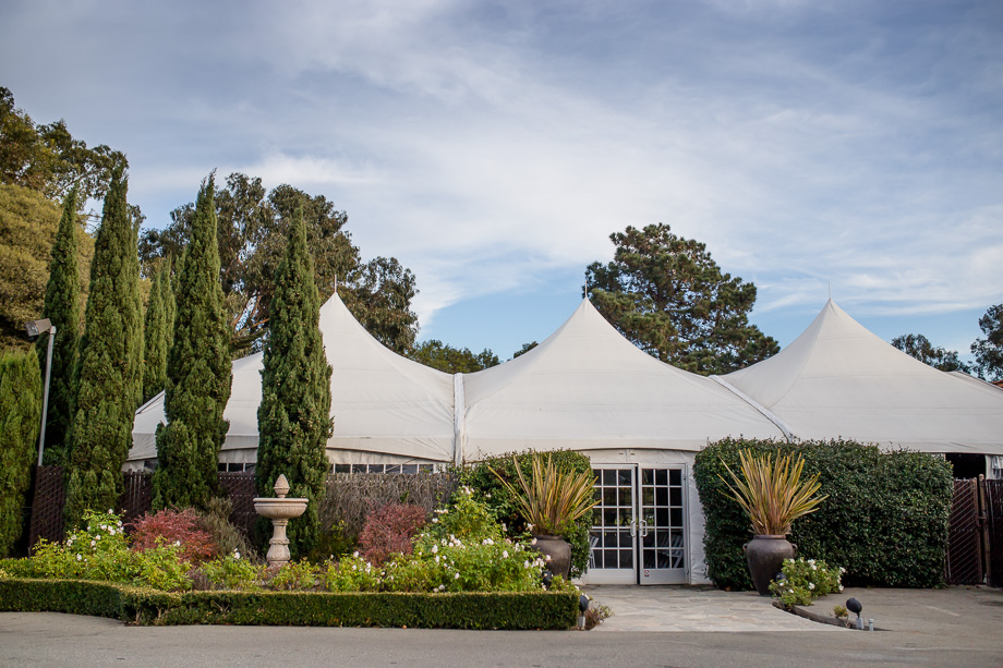 white tent wedding setup at Grandview Pavilion