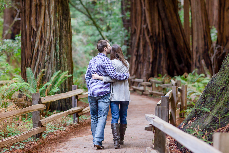 kissing along the trail - muir woods save the date picture