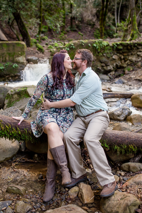 engagement photo at Uvas Canyon County Park in a creek