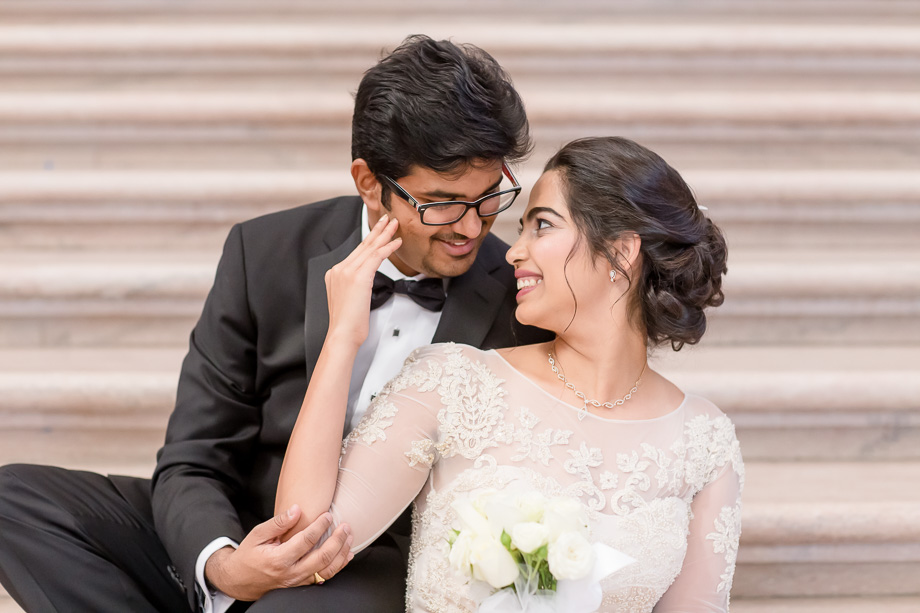 bride and groom portrait at the SF city hall