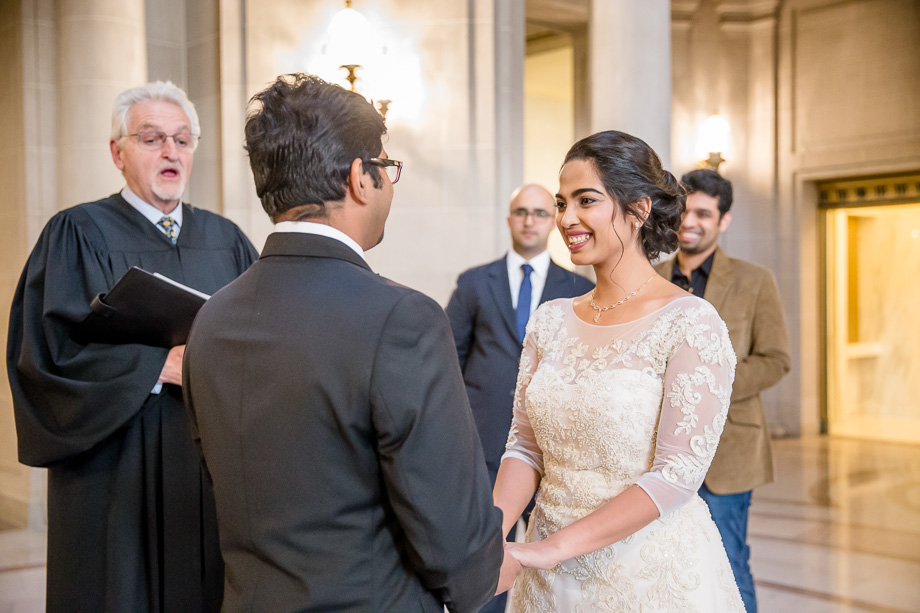 an intimate and emotional moment during the SF city hall wedding ceremony