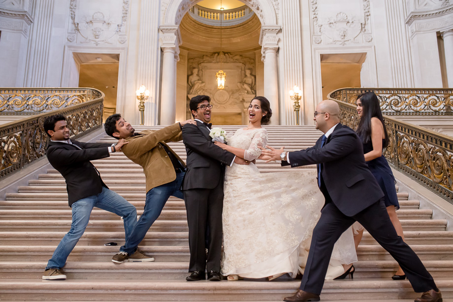 funny wedding party photo at SF City Hall