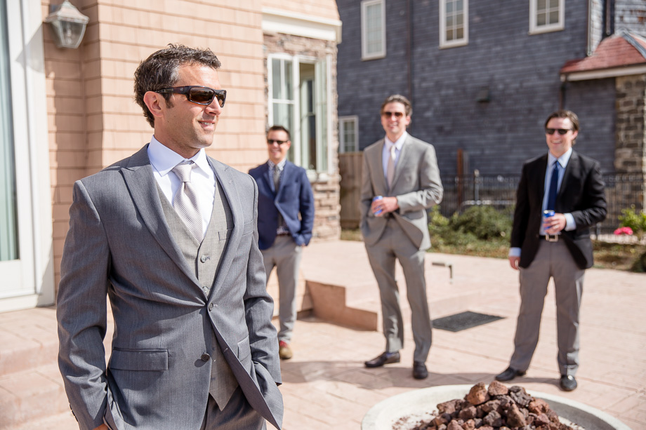 groom looking cool with his buddies
