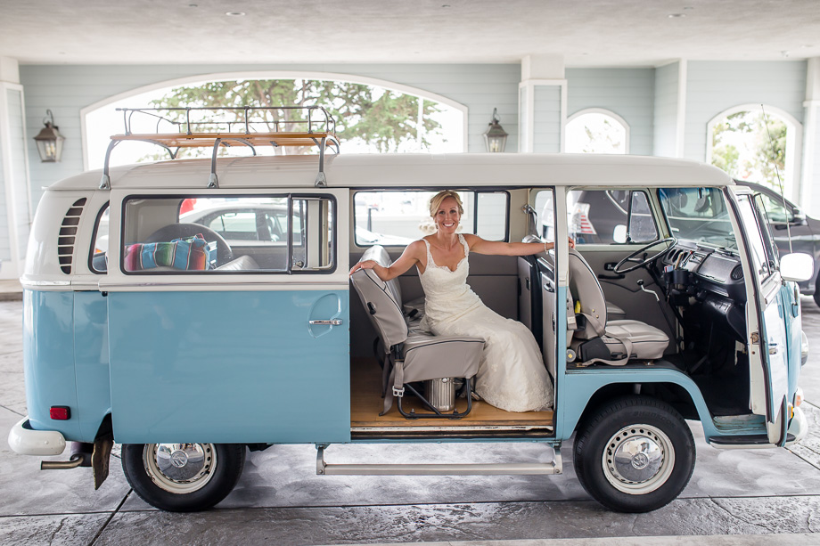 Bride with her VW bus