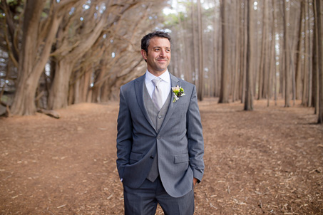 Grooms portrait at a beachside forest