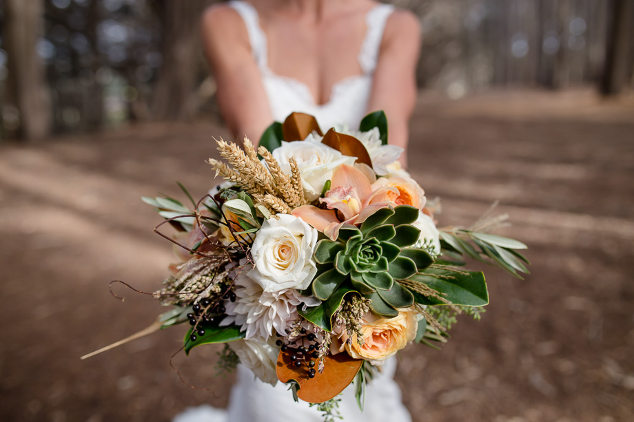 stunning bridal bouquet in a HMB forest