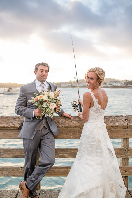 bride and groom portrait at the pier in HMB