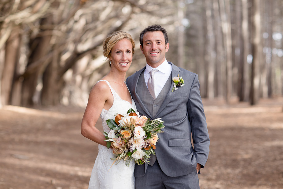 beautiful portrait of the bride and groom in an enchanted forest