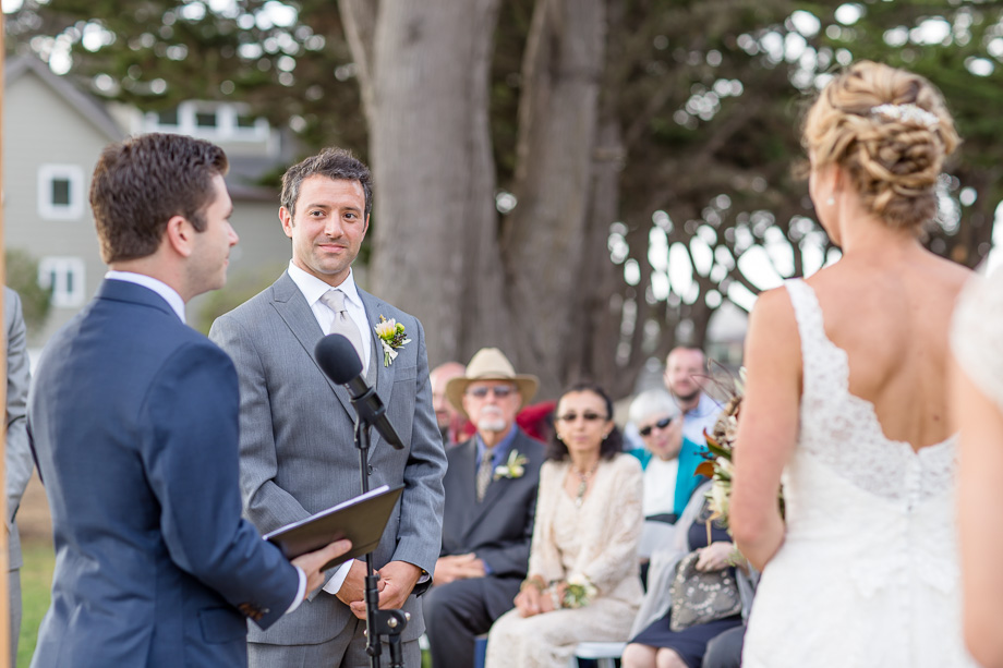 officiant speaking during wedding ceremony