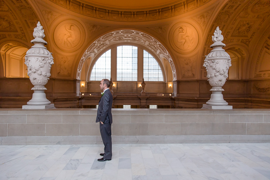 groom waiting for his bride at SF city hall third floor for their first look