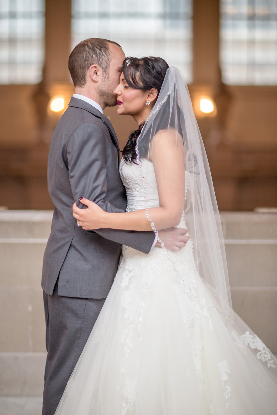 beautiful natural light portrait at San Francisco city hall - SF city hall weekend wedding