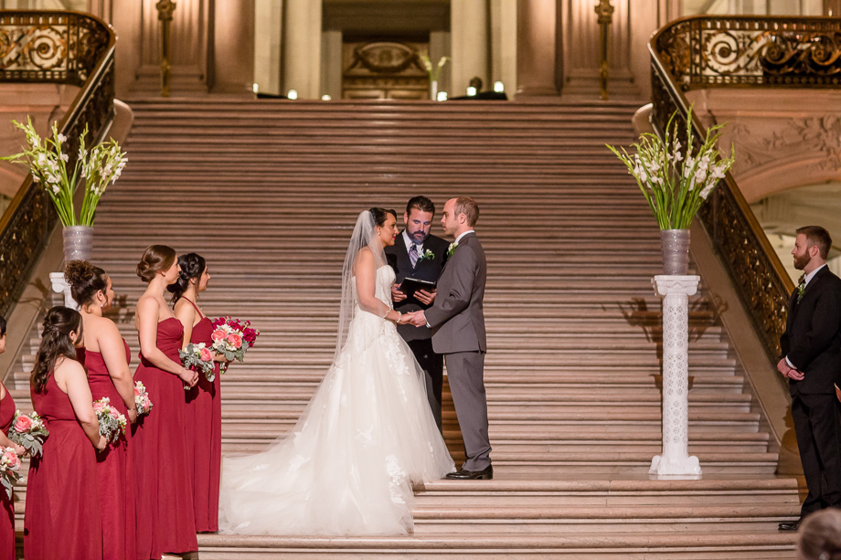 private night time wedding ceremony at San Francisco City Hall
