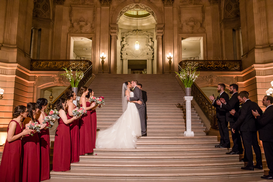 San Francisco City Hall wedding at the grand staircase underneath the rotunda