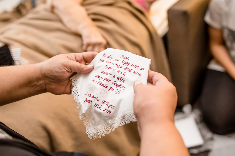 a cute handkerchief the bride gave to her mom as a gift