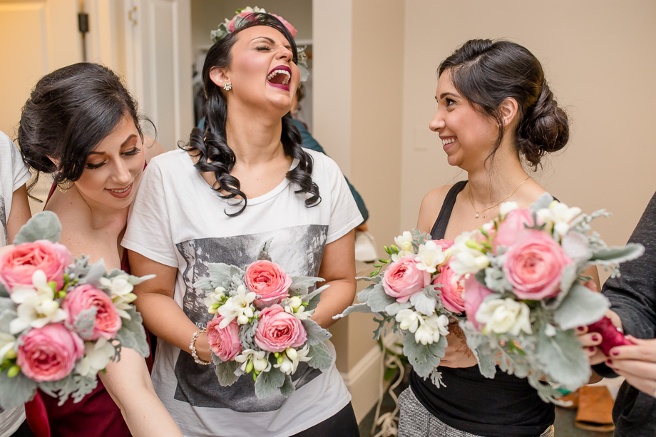 a hilarious moment when getting ready at WorldMark SF - San Francisco City Hall grand wedding