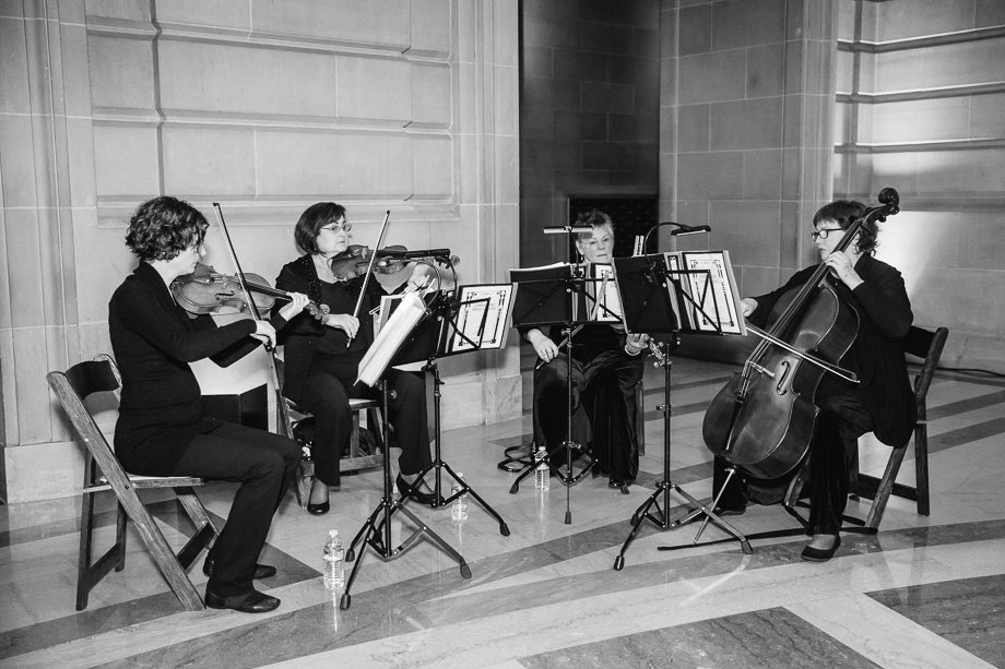 String quartet at the grand private SF City Hall wedding ceremony