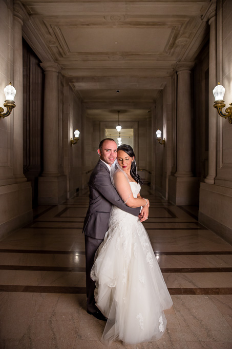 wedding at night in SF city hall