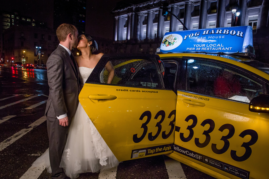 a Yellow Cab sendoff in front of the SF City Hall to end their perfect wedding night