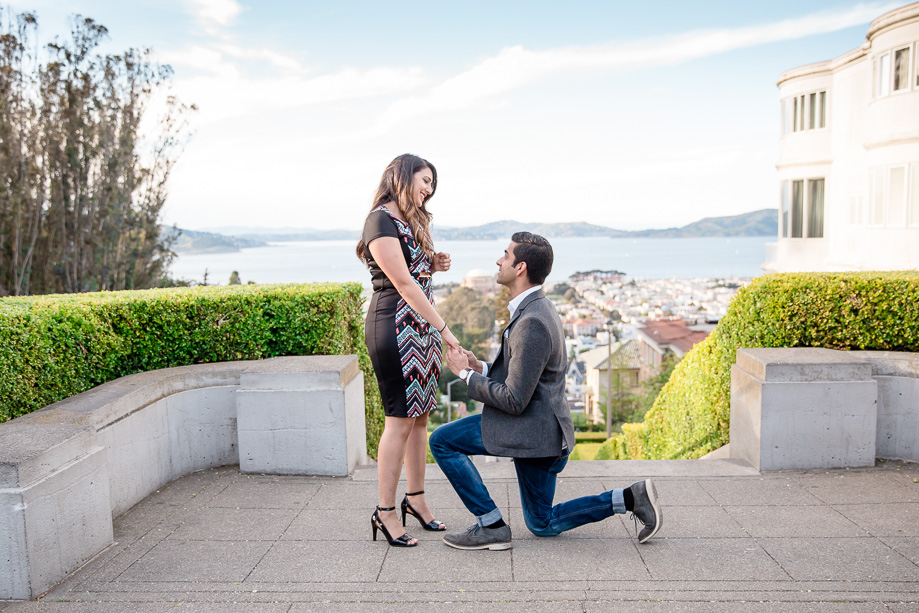 Lyon Street Steps surprise marriage proposal San Francisco wedding photographer