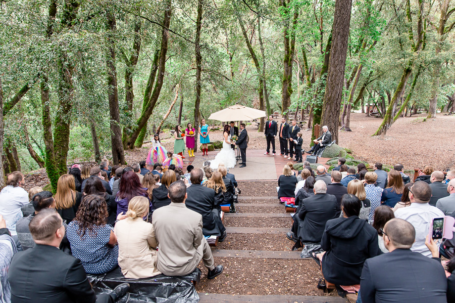 Northern California wedding ceremony in the woods