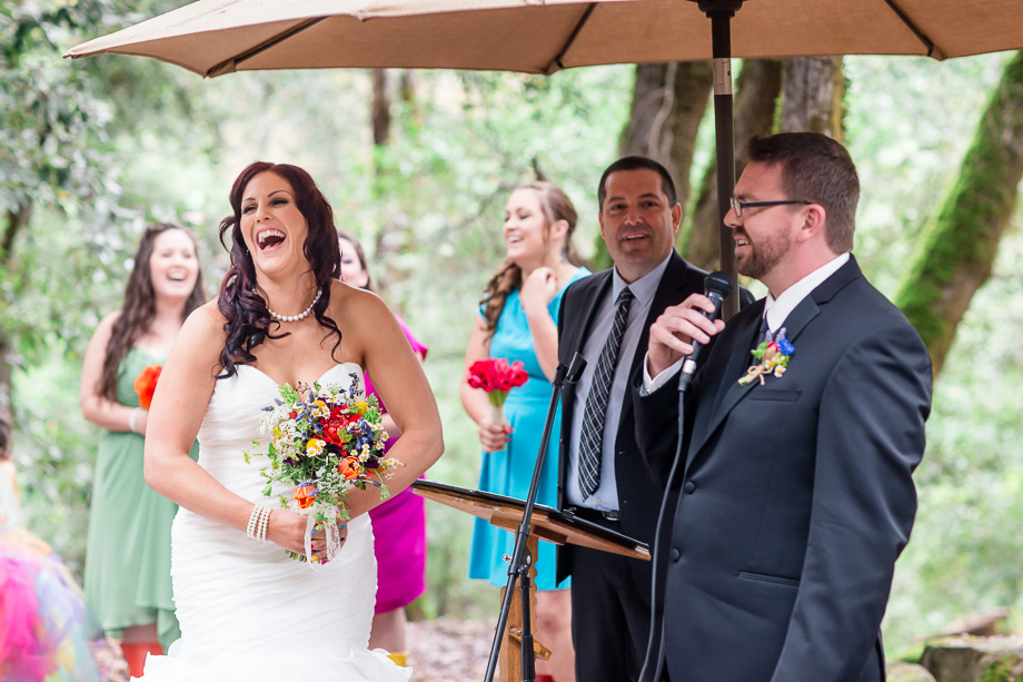 funny vows given by the groom - California woodside wedding ceremony
