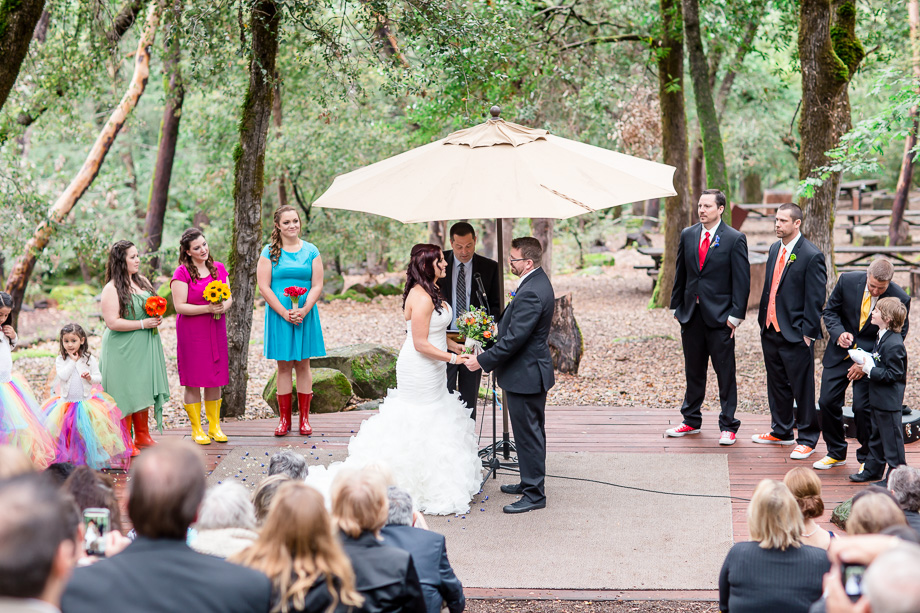 romantic Uvas Canyon County Park wedding ceremony in the woods