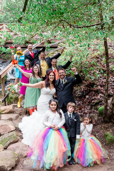 colorful tutus colorful vests and ties and colorful dresses rainboots and bouquets made this rainbow themed wedding a beautiful one - Bay Area photographer