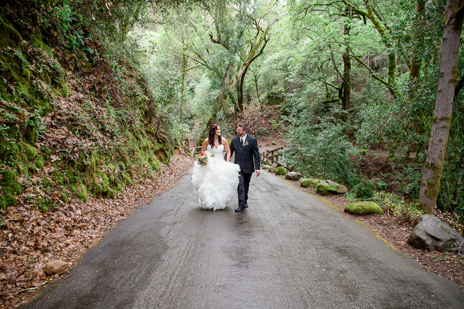 wedding photos on the hiking trail of Uvas Canyon Park