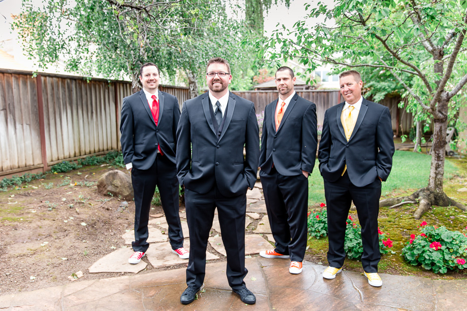 groom and his groomsmen wearing colorful Converses