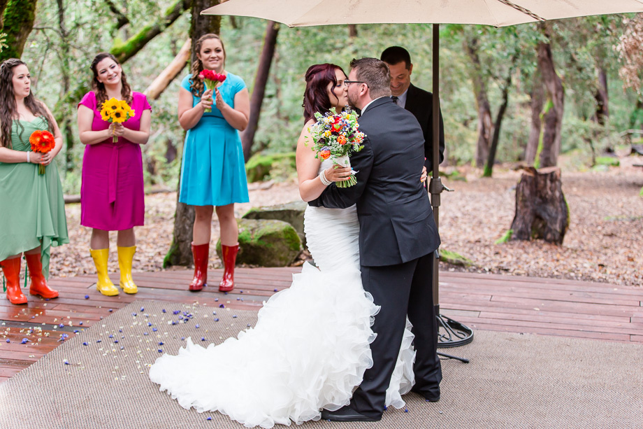 romantic colorful wedding in the woods - San Francisco wedding photographer