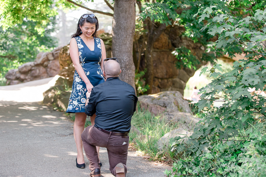 proposing to girlfriend at Stow Lake in Golden Gate Park