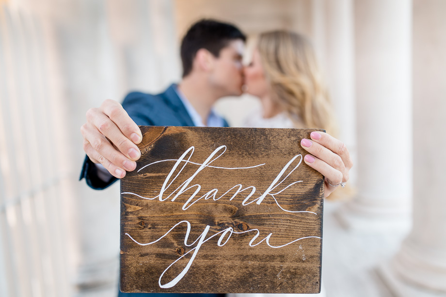 wooden rustic thank you sign for wedding